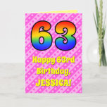 [ Thumbnail: 63rd Birthday: Pink Stripes & Hearts, Rainbow # 63 Card ]