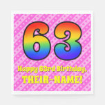 [ Thumbnail: 63rd Birthday: Pink Stripes & Hearts, Rainbow # 63 Napkins ]