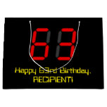 "[ Thumbnail: 63rd Birthday: Red Digital Clock Style ""63"" + Name Gift Bag ]"