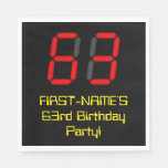 "[ Thumbnail: 63rd Birthday: Red Digital Clock Style ""63"" + Name Napkins ]"