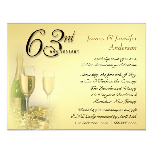 63rd Wedding Anniversary Party Invitations 4 25 Quot X 5 5