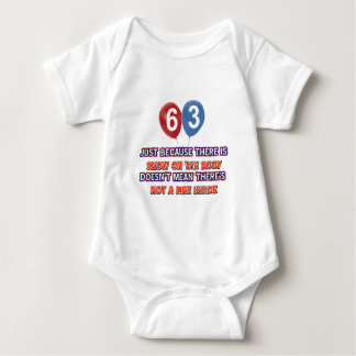63rd year old snow on the roof birthday designs tee shirt