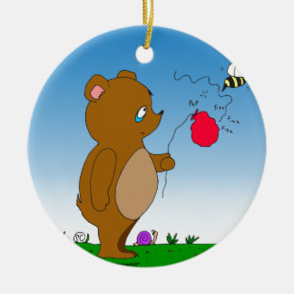 643 bee pops bears balloon cartoon ceramic ornament