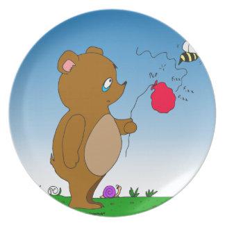 643 bee pops bears balloon cartoon dinner plate