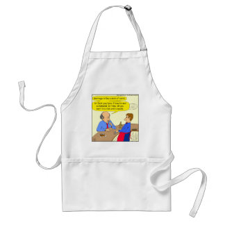 644 marriage is like a deck of cards cartoon adult apron