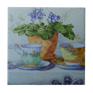 6470 African Violet and Teacups Ceramic Tile