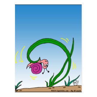647 upside down snail cartoon postcard
