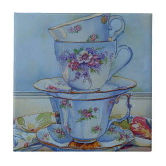 6487 Floral Teacups Ceramic Tile