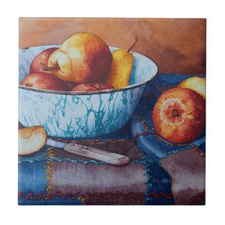 6497 Pears and Applies in Enamelware Bowl Ceramic Tile