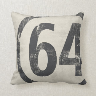 64 Grunge Number Design Age or Birth Year Pillows