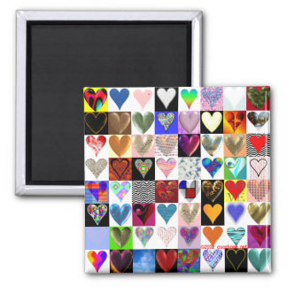 64 Hearts Square Magnet