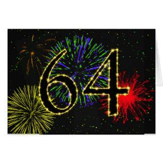 64.o Tarjeta de cumpleaños con los fuegos