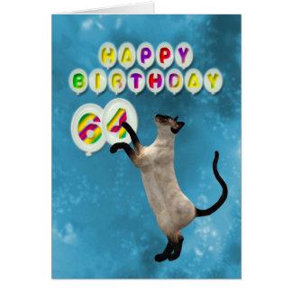 64.o Tarjeta de cumpleaños con los gatos siameses