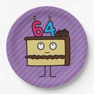 64.o Torta de cumpleaños con las velas Platos De Papel