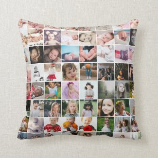64 Photo Template Personalized Custom Made Throw Pillow