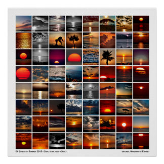 64 sunsets day by day poster