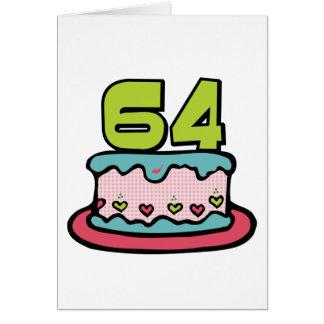 64 Year Old Birthday Cake Card
