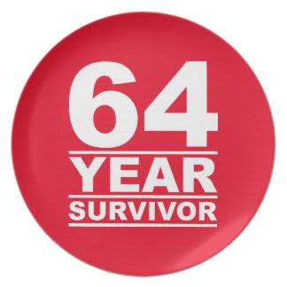 64 year survivor melamine plate