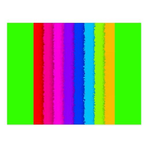 64B RAINBOW STRIPES COLORFUL NEON GRAPHICS BACKGRO POSTCARD