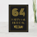 "[ Thumbnail: 64th Birthday: Art Deco Inspired Look ""64"" & Name Card ]"