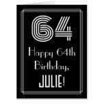 "[ Thumbnail: 64th Birthday — Art Deco Inspired Look ""64"" + Name Card ]"
