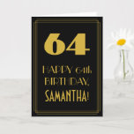"[ Thumbnail: 64th Birthday ~ Art Deco Inspired Look ""64"" & Name Card ]"