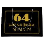 "[ Thumbnail: 64th Birthday — Art Deco Inspired Look ""64"" & Name Gift Bag ]"