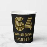 "[ Thumbnail: 64th Birthday: Art Deco Inspired Look ""64"" & Name ]"
