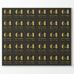 """[ Thumbnail: 64th Birthday ~ Art Deco Inspired Look """"64"""", Name Wrapping Paper ]"""