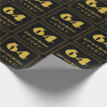 """[ Thumbnail: 64th Birthday – Art Deco Inspired Look """"64"""" & Name Wrapping Paper ]"""