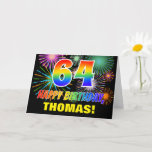 [ Thumbnail: 64th Birthday: Bold, Fun, Fireworks, Rainbow 64 Card ]
