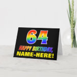 [ Thumbnail: 64th Birthday: Bold, Fun, Simple, Rainbow 64 Card ]