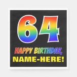 [ Thumbnail: 64th Birthday: Bold, Fun, Simple, Rainbow 64 Napkins ]