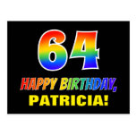 [ Thumbnail: 64th Birthday: Bold, Fun, Simple, Rainbow 64 Postcard ]