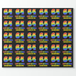 [ Thumbnail: 64th Birthday: Bold, Fun, Simple, Rainbow 64 Wrapping Paper ]