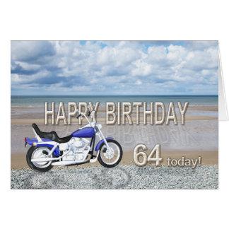 64th birthday card with a motor bike