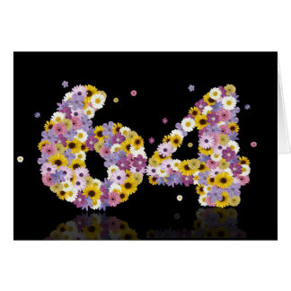 64th birthday card with flowery letters