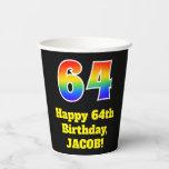 [ Thumbnail: 64th Birthday: Colorful, Fun, Exciting, Rainbow 64 ]
