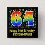 [ Thumbnail: 64th Birthday: Colorful Music Symbols, Rainbow 64 Button ]