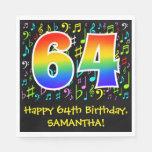 [ Thumbnail: 64th Birthday - Colorful Music Symbols, Rainbow 64 Napkins ]