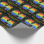 [ Thumbnail: 64th Birthday: Colorful Music Symbols, Rainbow 64 Wrapping Paper ]