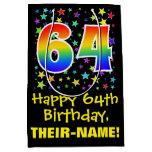 [ Thumbnail: 64th Birthday: Colorful Stars Pattern & Rainbow 64 Gift Bag ]
