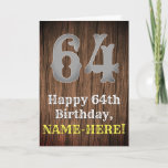 [ Thumbnail: 64th Birthday: Country Western Inspired Look, Name Card ]