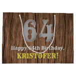 [ Thumbnail: 64th Birthday: Country Western Inspired Look, Name Gift Bag ]