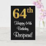 [ Thumbnail: 64th Birthday ~ Elegant Luxurious Faux Gold Look # Card ]