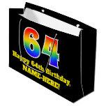 [ Thumbnail: 64th Birthday ~ Fun, Colorful, Vibrant, Rainbow 64 Gift Bag ]