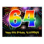 [ Thumbnail: 64th Birthday – Fun Fireworks Pattern + Rainbow 64 Postcard ]