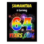 "[ Thumbnail: 64th Birthday - Fun Fireworks, Rainbow Look ""64"" Postcard ]"