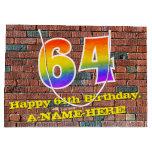 [ Thumbnail: 64th Birthday: Fun, Graffiti-Inspired Rainbow # 64 Gift Bag ]