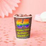 [ Thumbnail: 64th Birthday: Fun Graffiti-Inspired Rainbow 64 ]